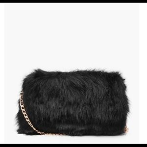 Black Faux Fur purse with gold chain strap